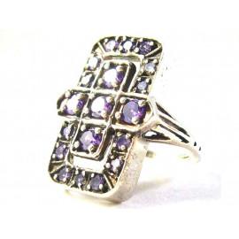 Stříbrný prsten s ametysty