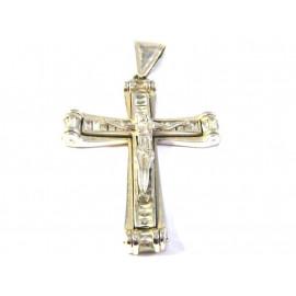Stříbrný přívěsek kříž s topazy