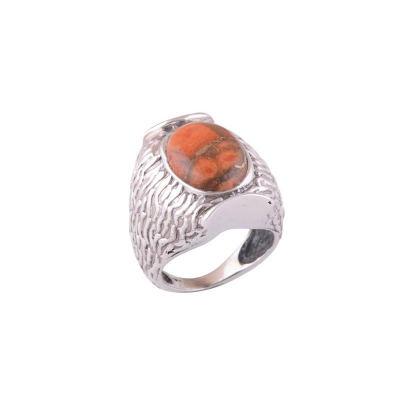 Stříbrný prsten s červeným tyrkysem