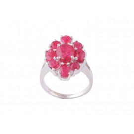Stříbrný prsten s rubíny