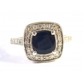 14 kt zlatý prsten se safírem a brilianty 0.50 kt