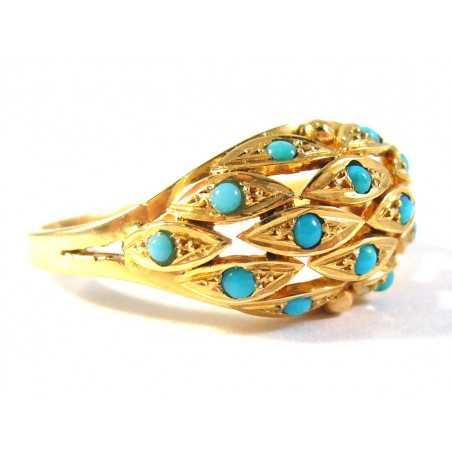 18 kt zlatý prsten s přírodními tyrkysy
