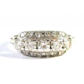 18 kt starožitný zlatý prsten s brilianty 0.76 kt