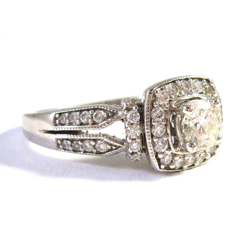 Starožitný 14 kt zlatý prsten s brilianty 0.90 kt