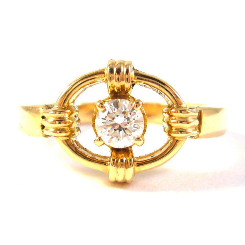 18 kt starožitný zlatý prsten s briliantem 0.40 kt