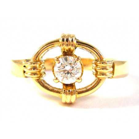 Starožitný 18 kt zlatý prsten s briliantem 0.2435 kt