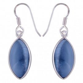 Stříbrné naušnice s modrým opálem
