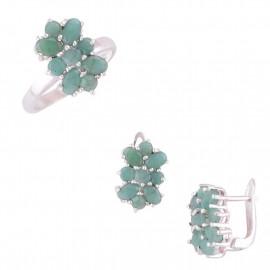 Stříbrná souprava se smaragdem