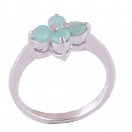 Stříbrný prsten se smaragdy