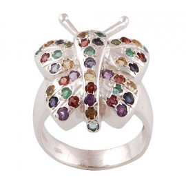 Stříbrný prsten s drahokamy