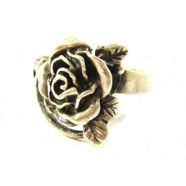 Stříbrný prsten růže