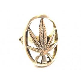 Stříbrný prsten Cannabis