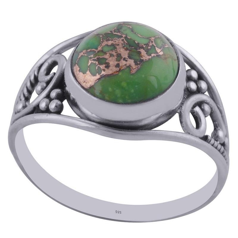 Stříbrný prsten se zeleným tyrkysem