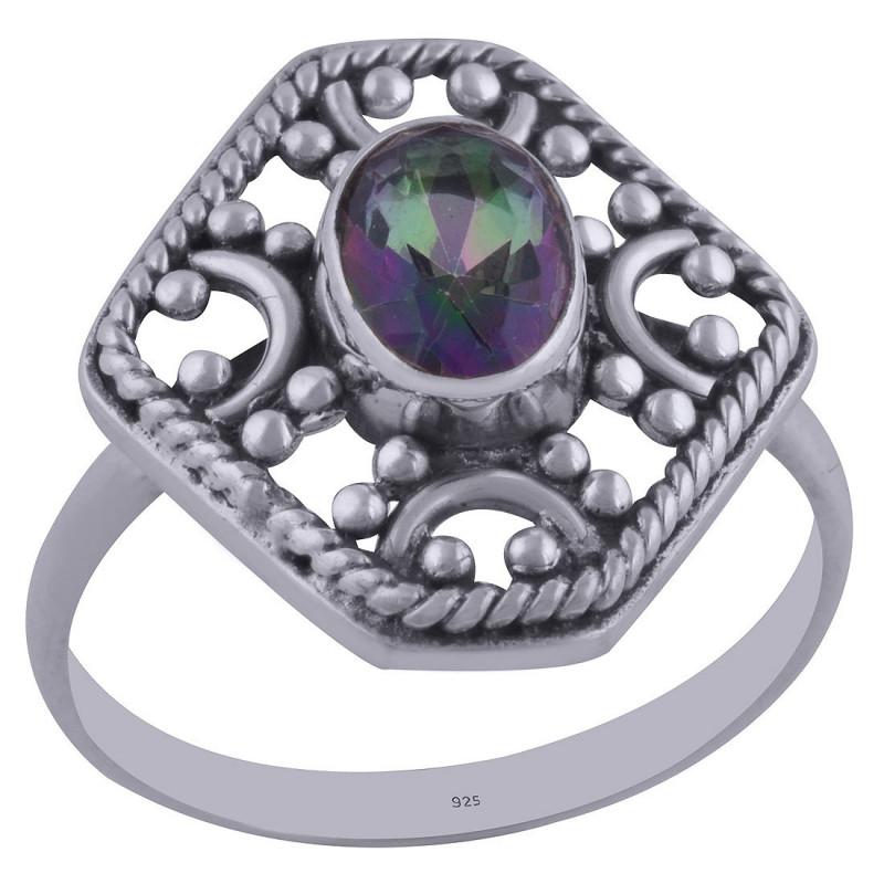 Stříbrný prsten s mystickým topazem