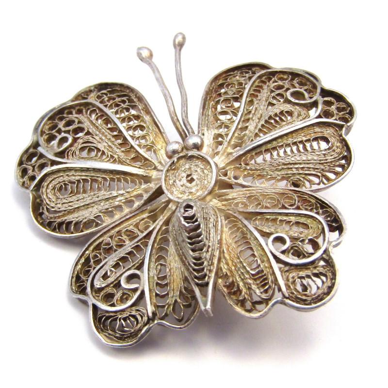 Stříbrná brož motýl