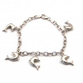 Stříbrný náramek s delfíny
