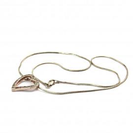 Stříbrný náhrdelník srdce s bílými topazy