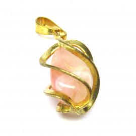 Přívěsek s růžovým měsíčním kamenem v kleci