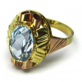 14 kt zlatý prsten s akvamarínem