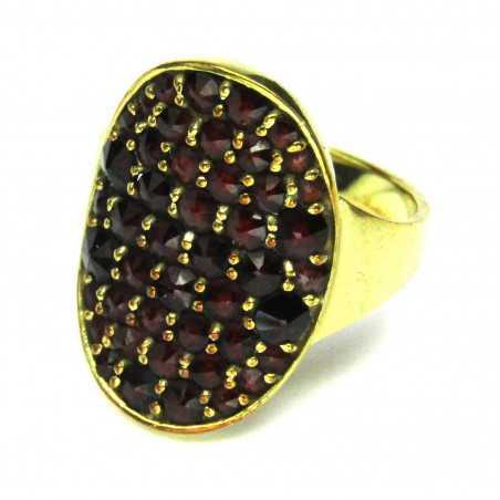 14 kt zlatý prsten s českými granáty