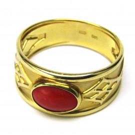 14 kt zlatý prsten s mořským korálem