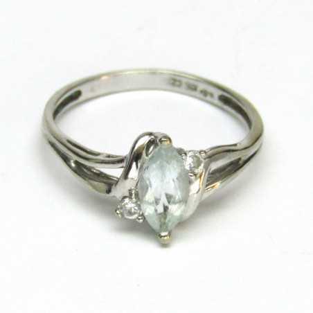 Zlatý prsten s akvamarínem a brilianty