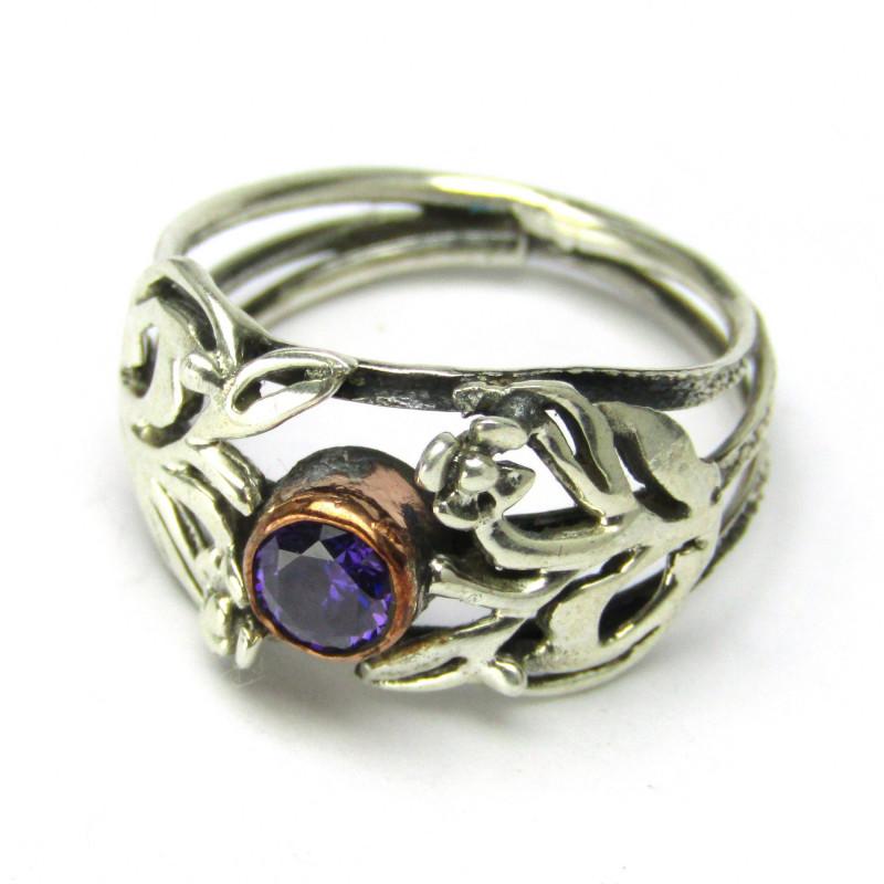 Stříbrný prsten s ametystem