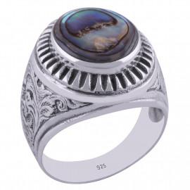 Stříbrný prsten s perletí