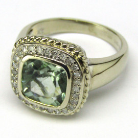 14 kt zlatý prsten s akvamarínem a brilianty
