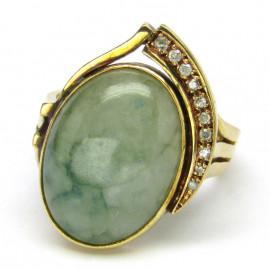 14 kt zlatý luxusní prsten s jadeitem