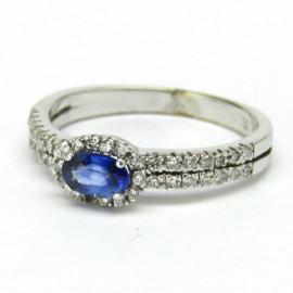 14 kt zlatý prsten s tanzanitem a brilianty