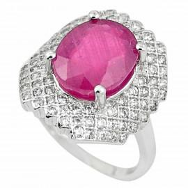 Stříbrný prsten s rubínem
