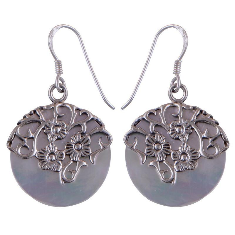 Stříbrné naušnice s perletí