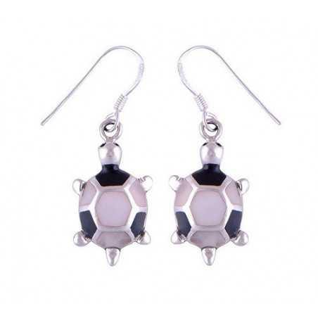 Stříbrné naušnice s perletí a onyxem