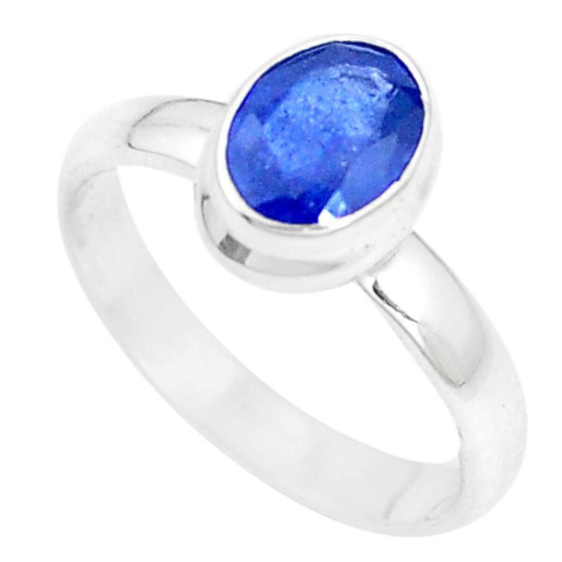 Stříbrný prsten se safírem 2.09 kt s certifikátem