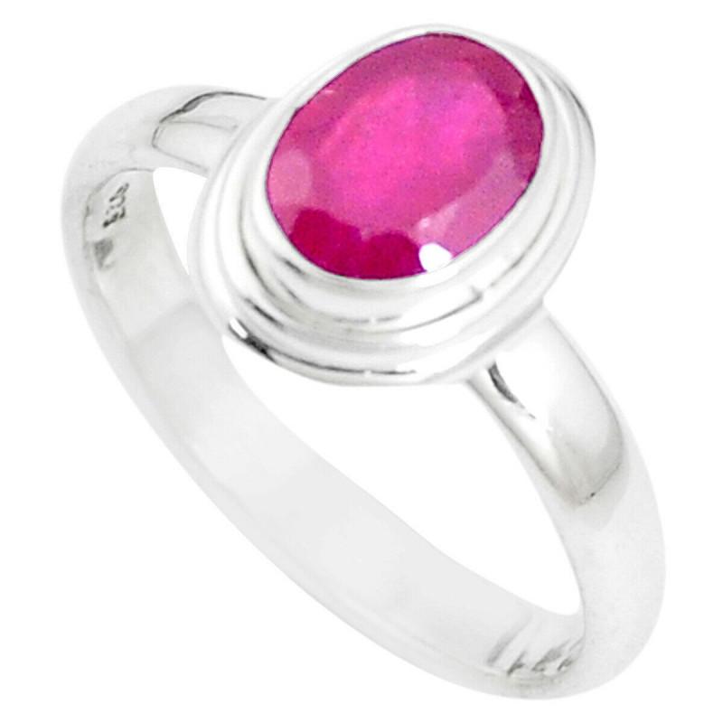 Stříbrný prsten s rubínem 2.21 kt s certifikátem