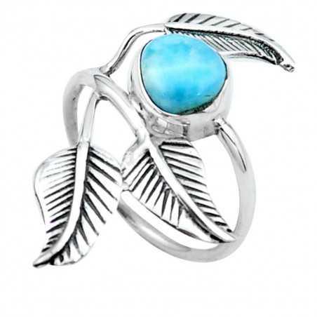 Stříbrný prsten s larimarem