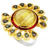 Stříbrný prsten s turmalínem a diamanty 0.35 kt