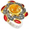 Stříbrný prsten s turmalínem a diamanty 0.45 kt