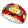 Stříbrný prsten s citrínem a diamanty 0.10 kt