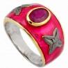 Stříbrný prsten s rubínem a diamanty 0.04 kt