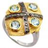 Stříbrný prsten s topazem a diamanty 0.32 kt