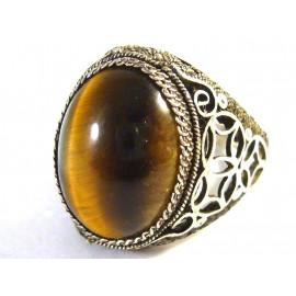 Starožitný stříbrný prsten s tygřím okem