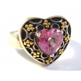 Stříbrný prsten s růžovým topazem
