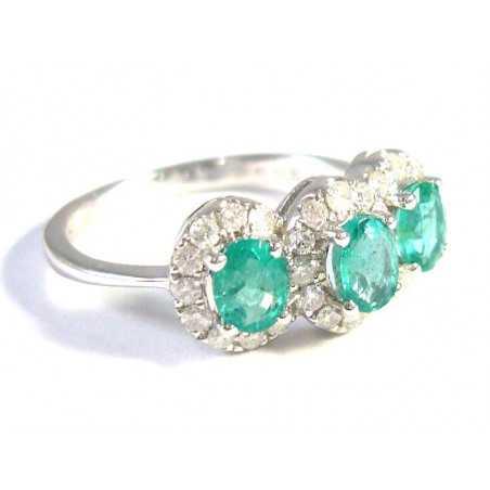 18 kt zlatý prsten se smaragdy a brilianty