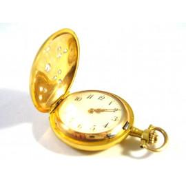 Starožitné zlaté 14kt hodinky s brilianty 0.60 kt