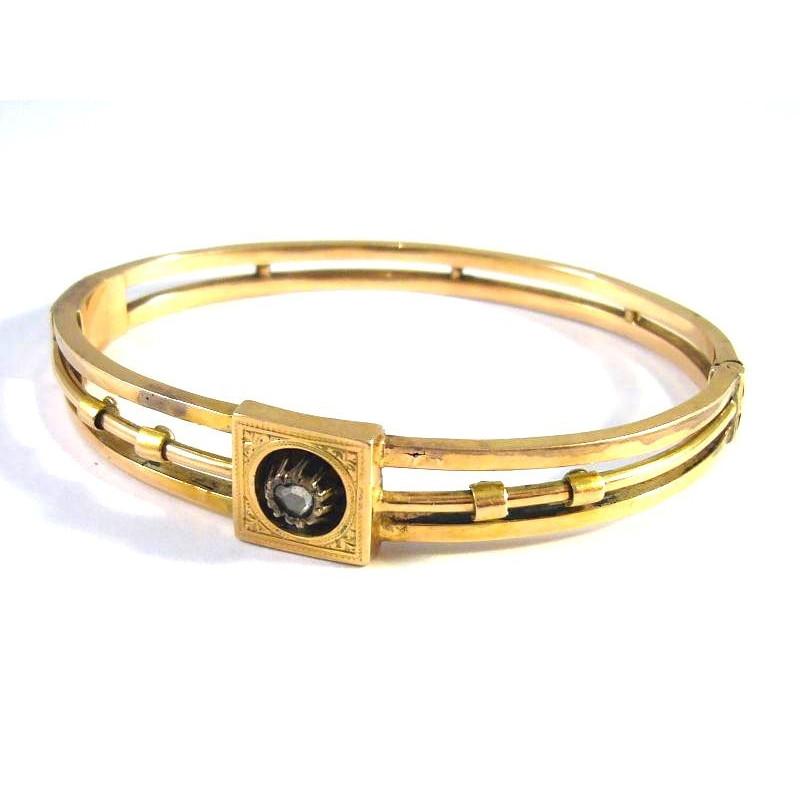 Starožitný 14 kt Biedermeier zlatý náramek s briliantem 0.20 kt