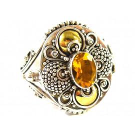 Stříbrný jedový prsten s přírodním citrínem