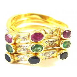 Skládací 14 kt zlatý prsten s diamanty a drahými kameny
