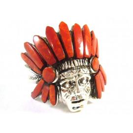 Stříbrný prsten indián s mořskými korály